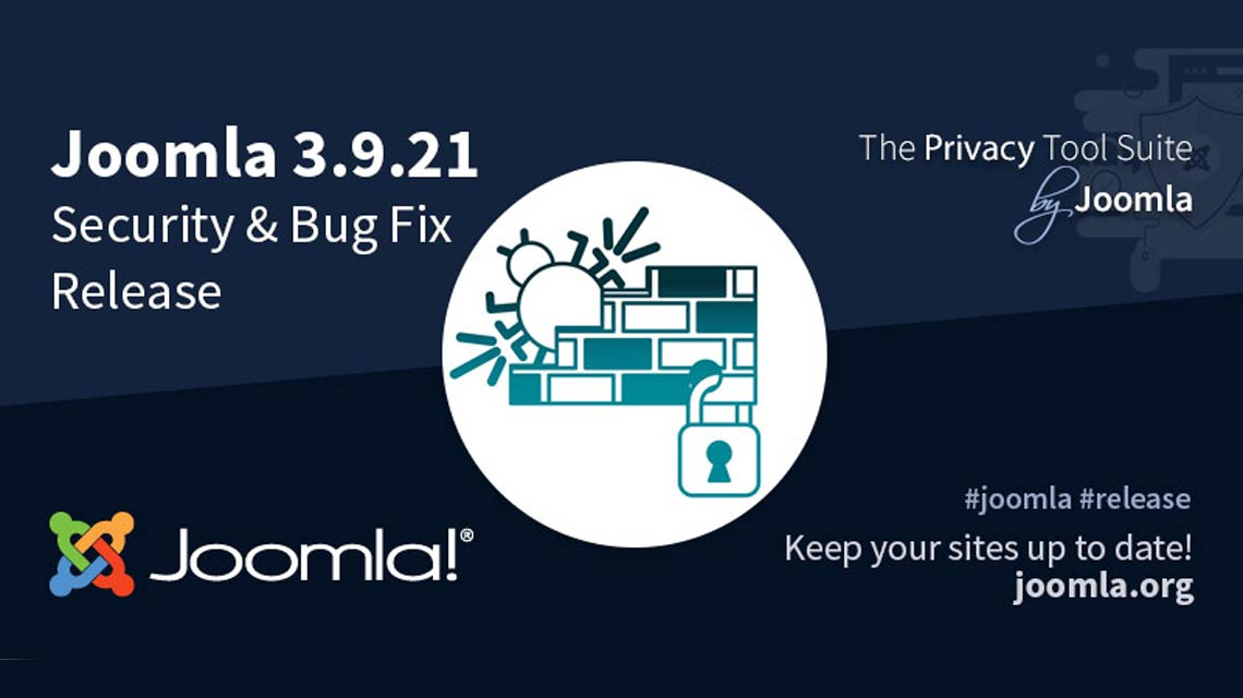 Three security vulnerabilities are fixed with the release of Joomla 3.9.21 version