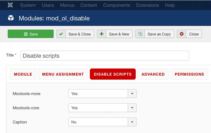disable scripts joomla module