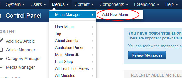 create new menu category