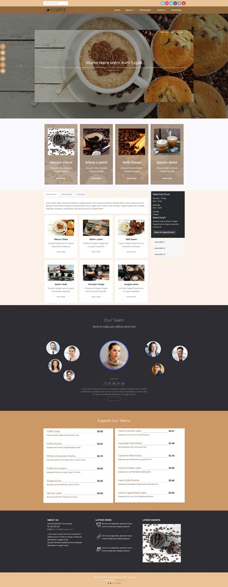 Ol Coffee - Joomla template for Coffee Shops and Cafés
